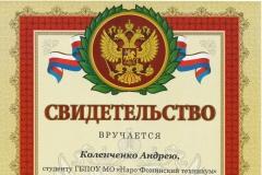 Коленченко Олимпиада сварщик 7 место